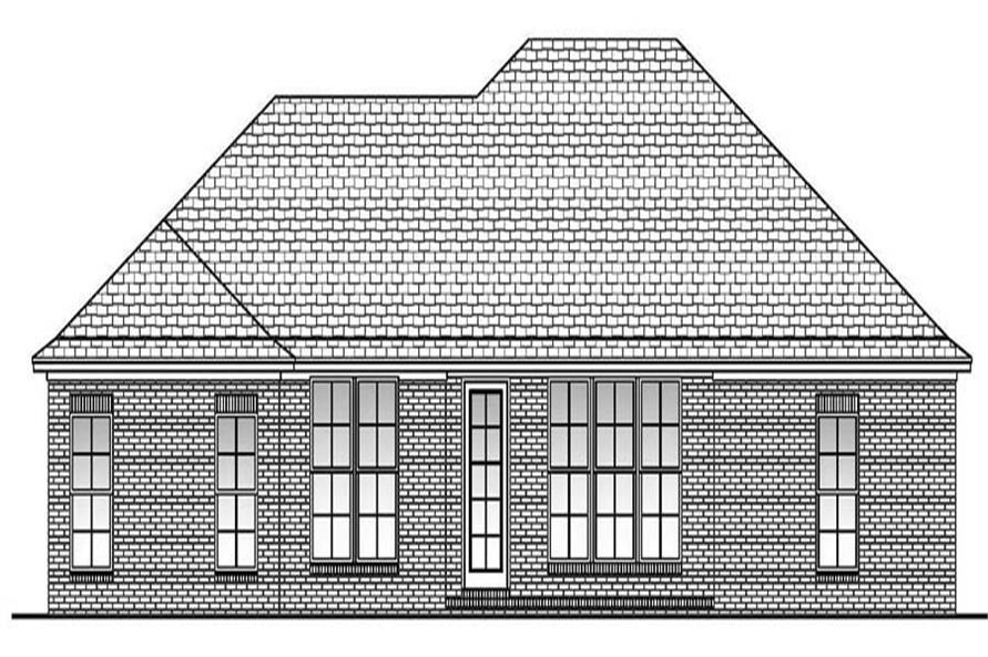 Home Plan Rear Elevation of this 3-Bedroom,1600 Sq Ft Plan -142-1063