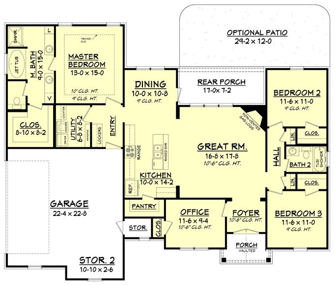 3 bedroom 3 bath house plans.  142 1075 Floor Plan Main Level House 3 Bdrm 1 769 Sq Ft Traditional Home