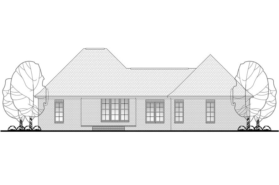Home Plan Rear Elevation of this 3-Bedroom,1769 Sq Ft Plan -142-1075