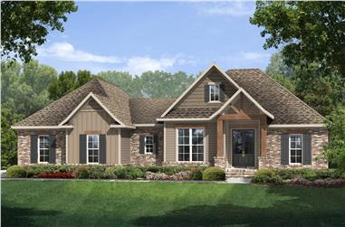 Color rendering Traditional home plan (House Plan #142-1075) at The Plan Collection.