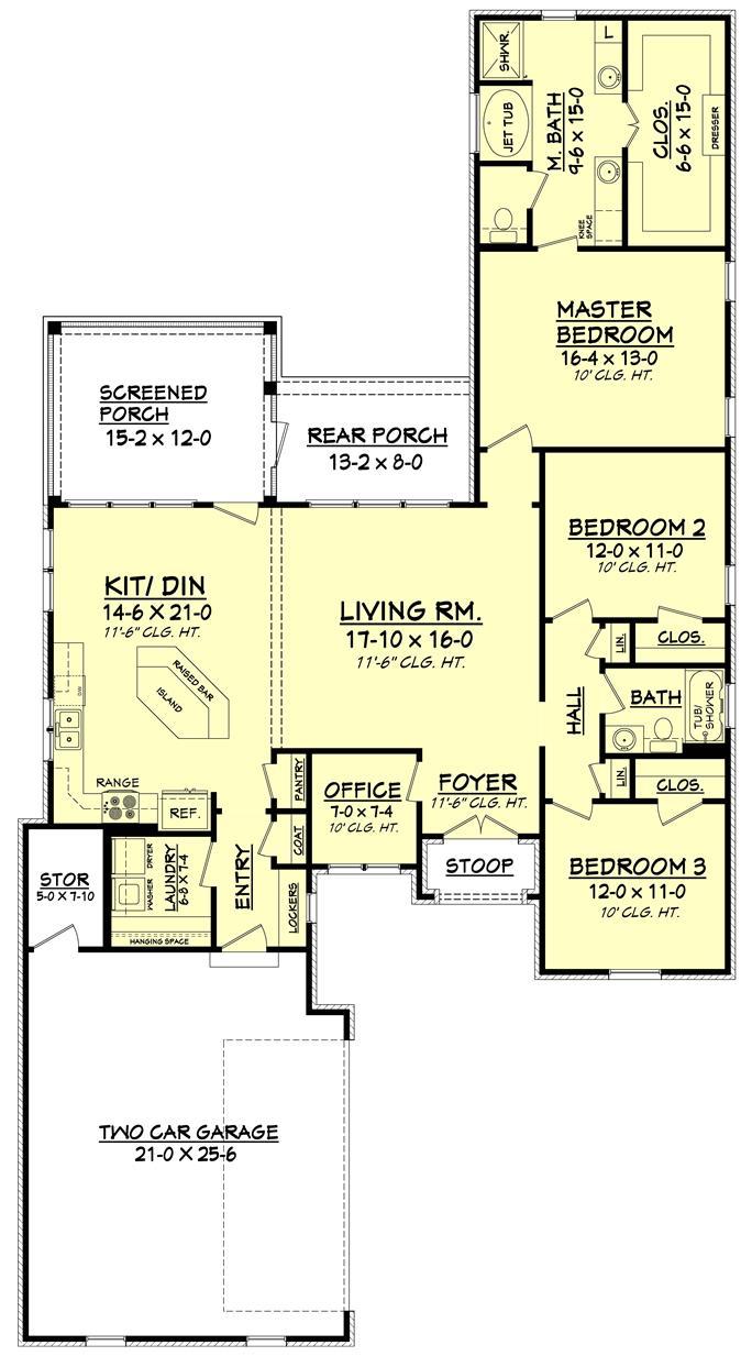 Small house plan home plan 142 -  142 1077 Floor Plan Main Level