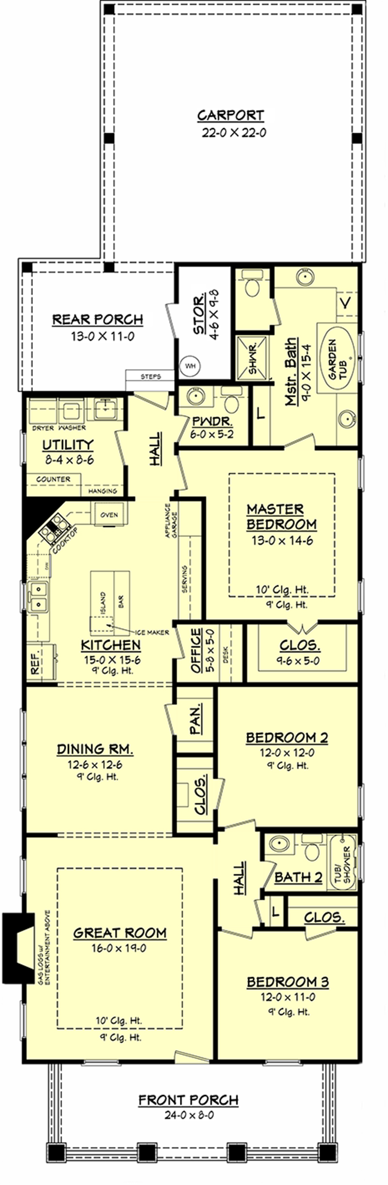 House plan 142 1079 3 bdrm 2 1 2 bath 1800 sq ft for Single level floor plans