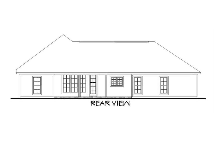 Home Plan Rear Elevation of this 3-Bedroom,1834 Sq Ft Plan -142-1082