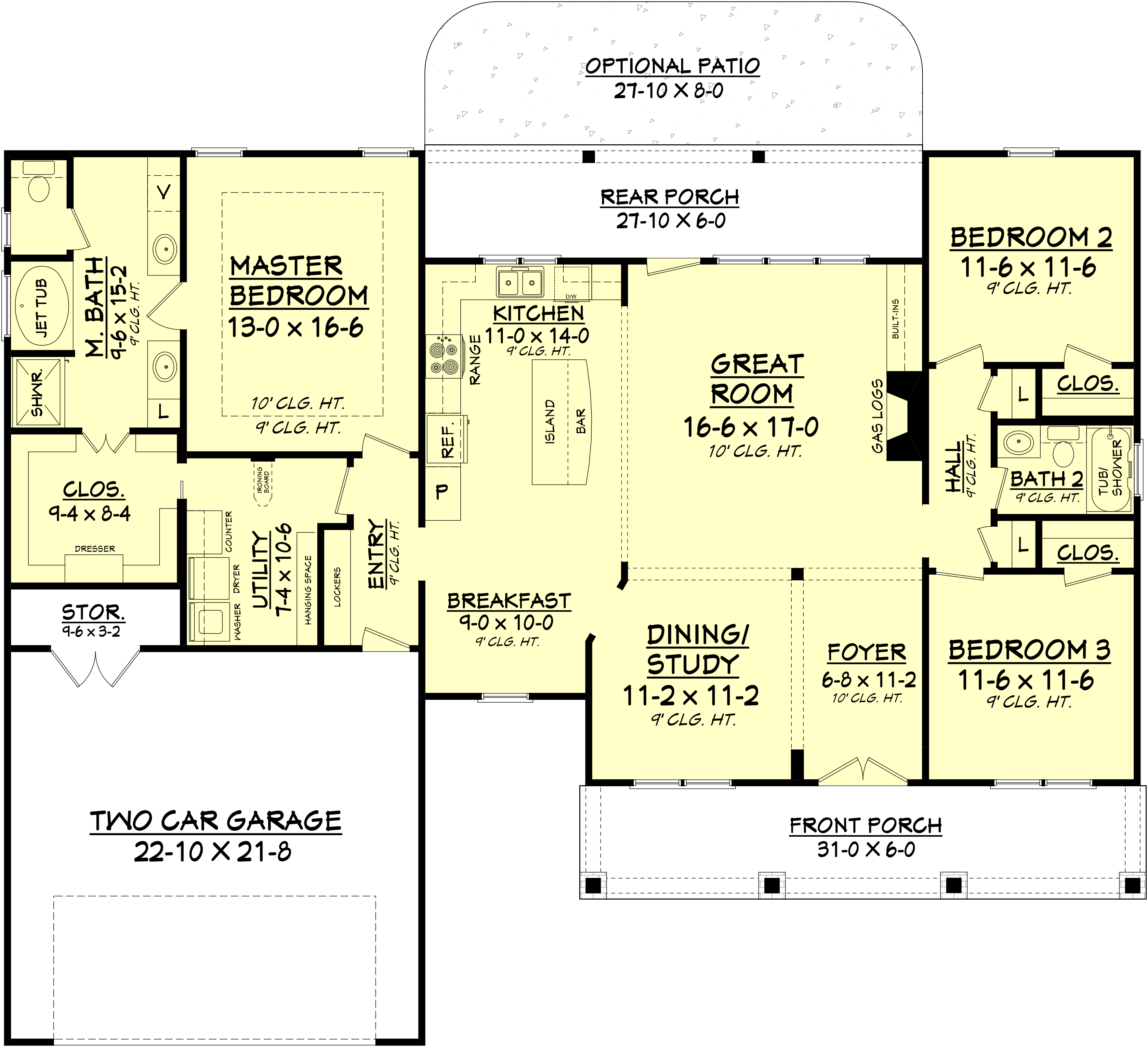 Craftsman style home plan 3 bedrooms 2 bathrooms plan 142 1082 - Two floor house plans collection ...