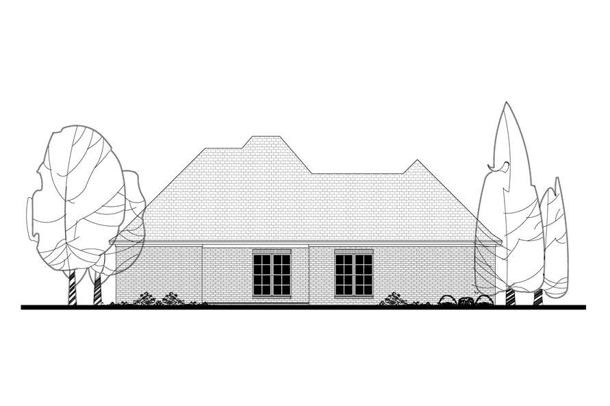 142-1090: Home Plan Rear Elevation