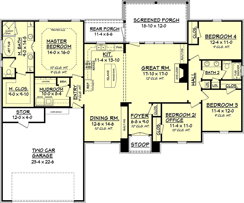 House plan 142 1092 4 bdrm 2 000 sq ft acadian home for 2 story acadian house plans