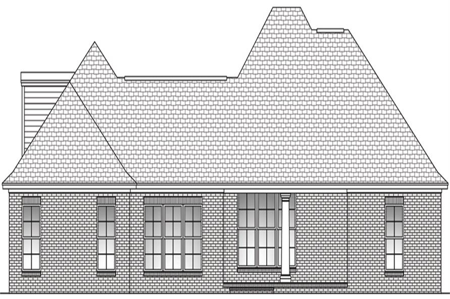 Home Plan Rear Elevation of this 3-Bedroom,2200 Sq Ft Plan -142-1097