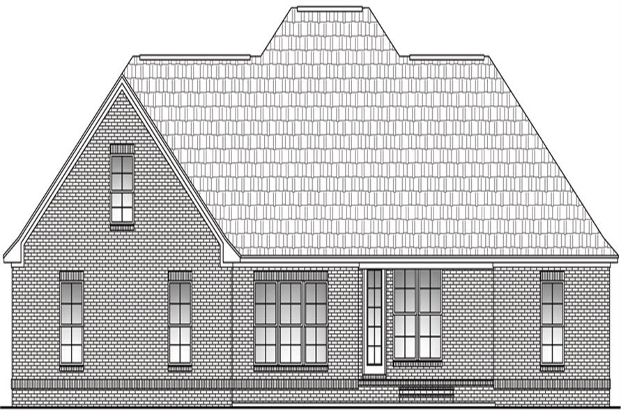 Home Plan Rear Elevation of this 4-Bedroom,2400 Sq Ft Plan -142-1098