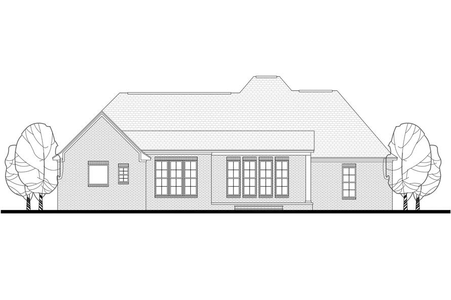 142-1100: Home Plan Rear Elevation
