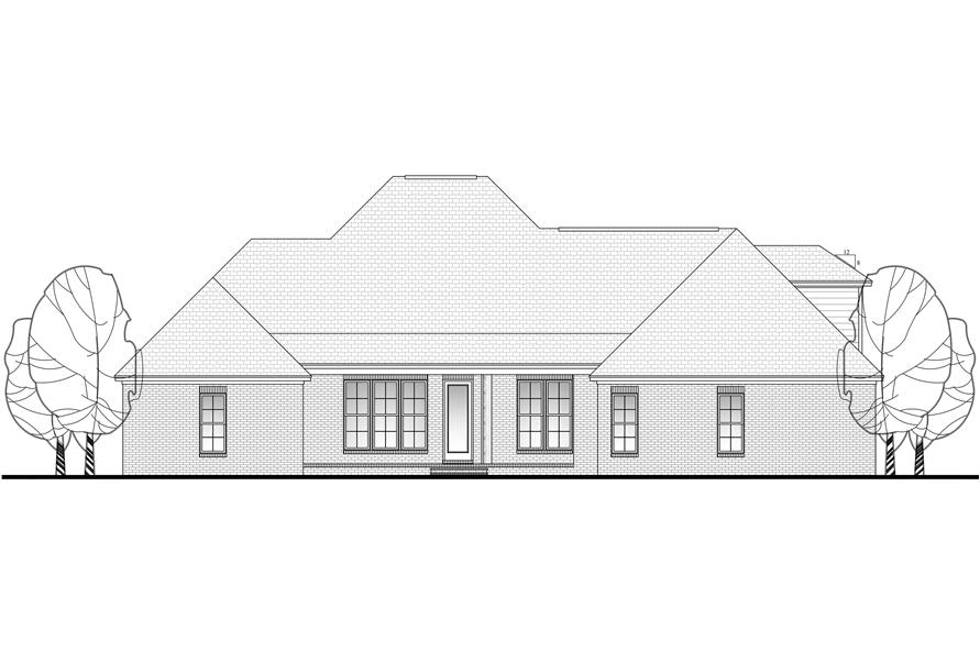 Home Plan Rear Elevation of this 4-Bedroom,2506 Sq Ft Plan -142-1101