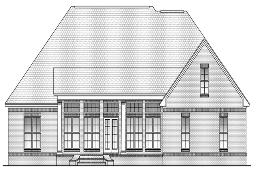 Home Plan Rear Elevation of this 4-Bedroom,2900 Sq Ft Plan -142-1103