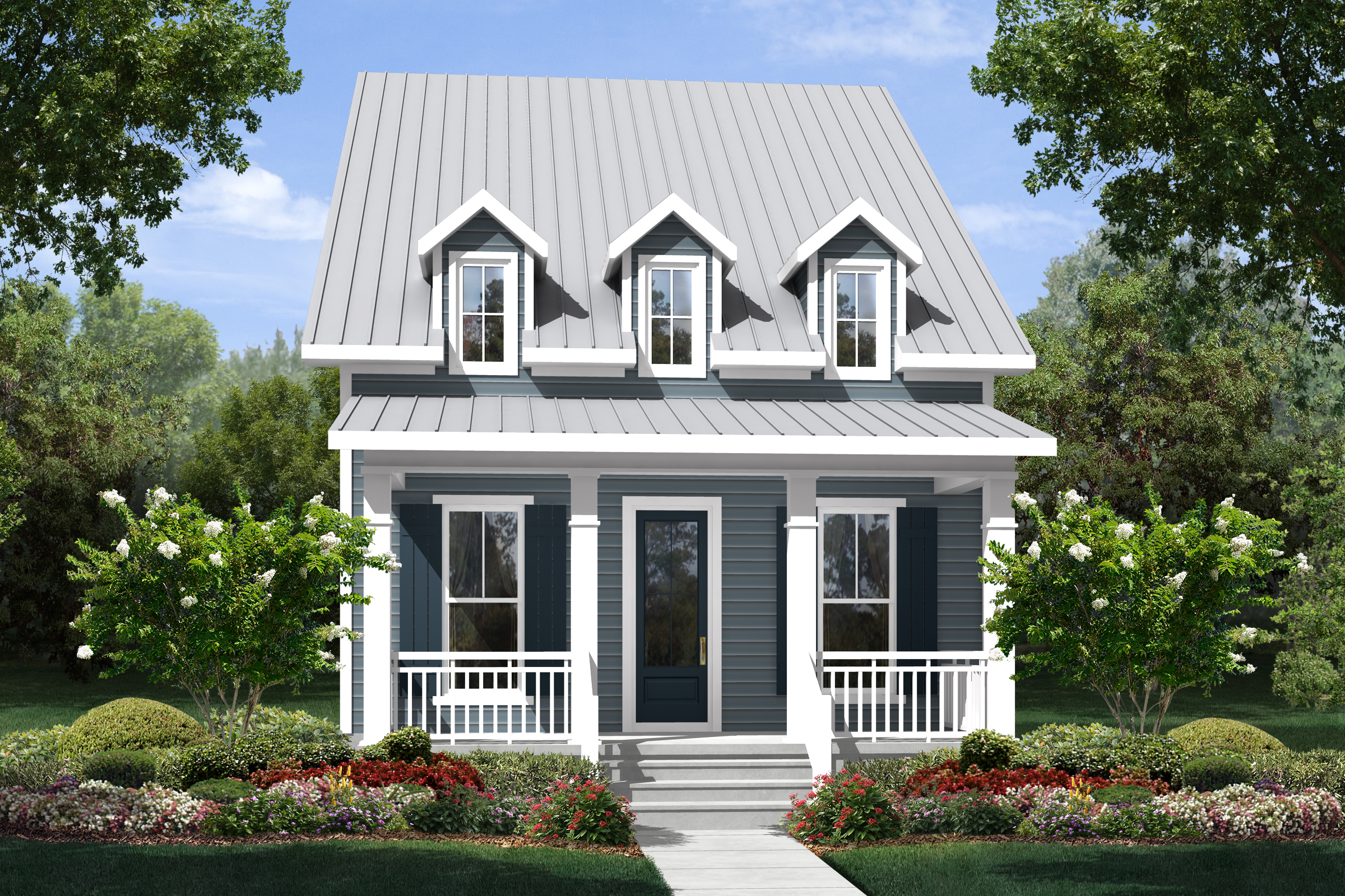 Small house plan home plan 142 -  142 1122 Front Elevation Of Cottage Home Theplancollection House Plan 142 1122
