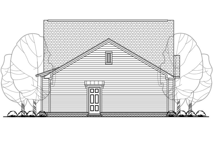 Home Plan Rear Elevation of this 3-Bedroom,1450 Sq Ft Plan -142-1123