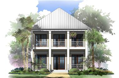 Front elevation of Coastal home (ThePlanCollection: House Plan #142-1125)