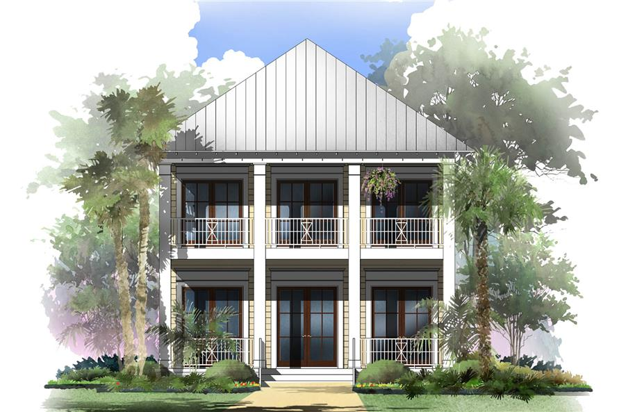 142 1125 front elevation of coastal home theplancollection house plan 142 1125 - Coastal House Plans