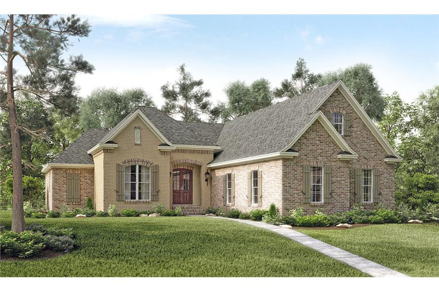 Front elevation of Acadian home (ThePlanCollection: House Plan #142-1130)