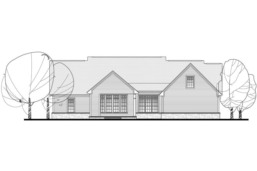 Home Plan Rear Elevation of this 4-Bedroom,2420 Sq Ft Plan -142-1131