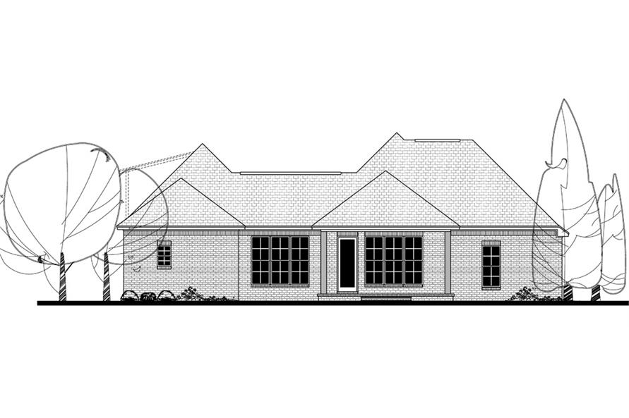 Home Plan Rear Elevation of this 4-Bedroom,2180 Sq Ft Plan -142-1136