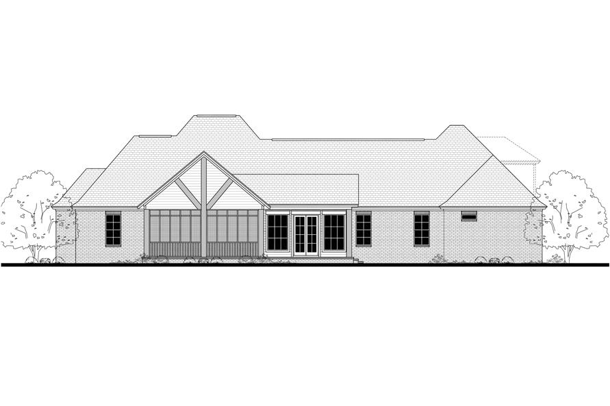 Home Plan Rear Elevation of this 4-Bedroom,3195 Sq Ft Plan -142-1139