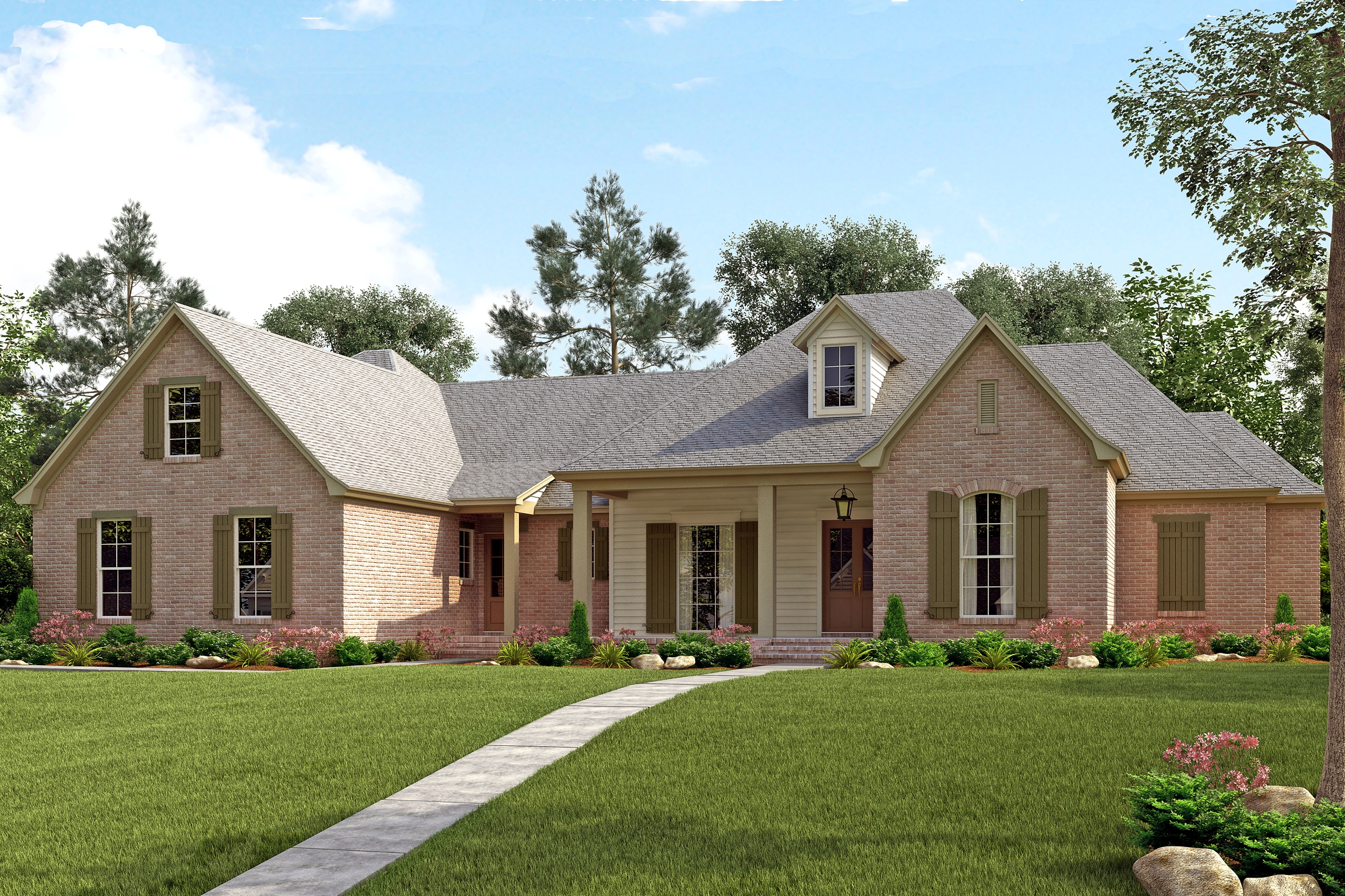 #142-1139 · Front elevation of French home (ThePlanCollection: House Plan  #142-1139)