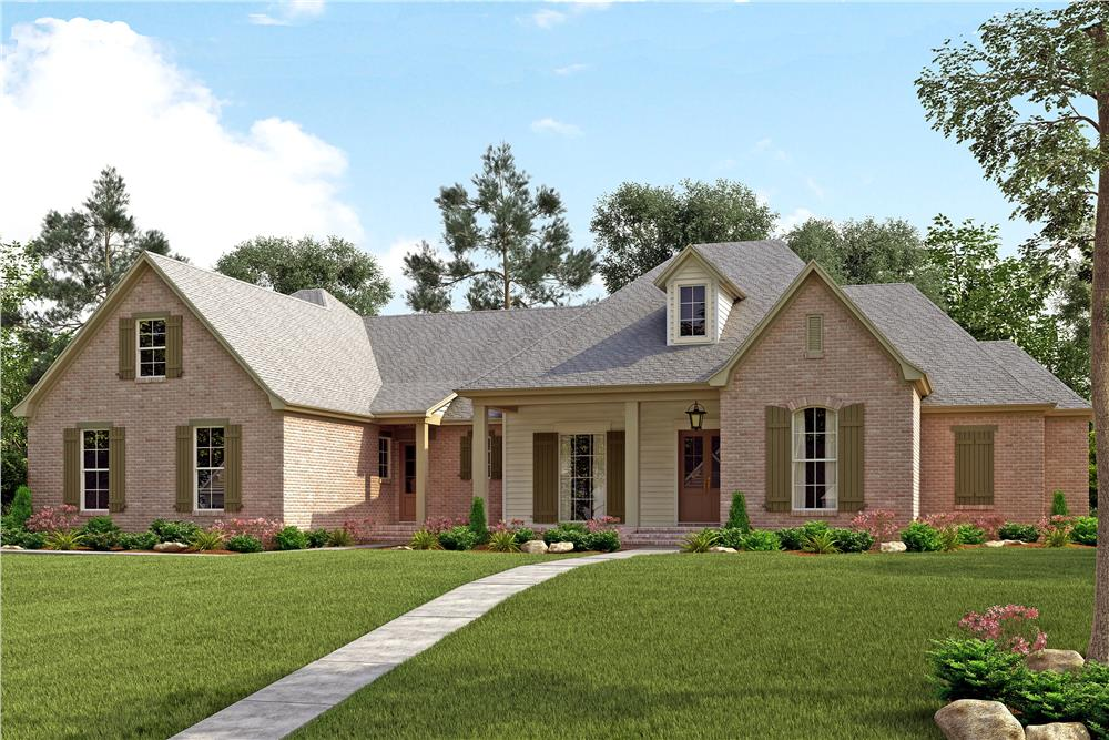 Front elevation of French home (ThePlanCollection: House Plan #142-1139)