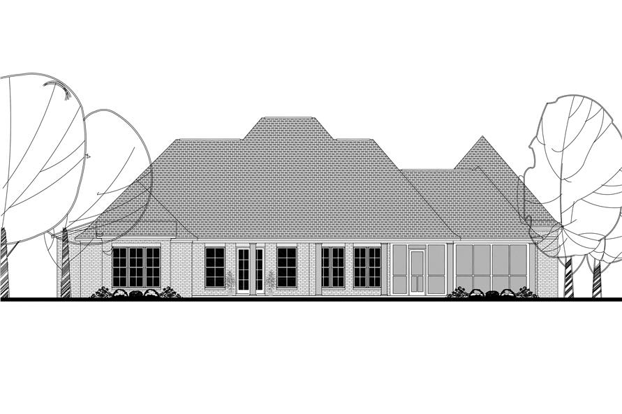 142-1140: Home Plan Rear Elevation