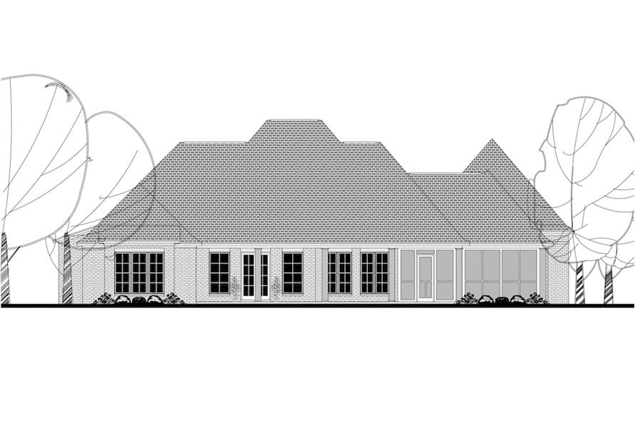 Home Plan Rear Elevation of this 4-Bedroom,3360 Sq Ft Plan -142-1140