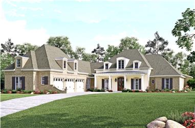 Front elevation of European home (ThePlanCollection: House Plan #142-1140)