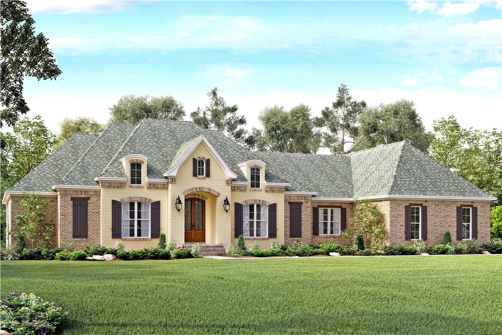 Front elevation of European home (ThePlanCollection: House Plan #142-1141)
