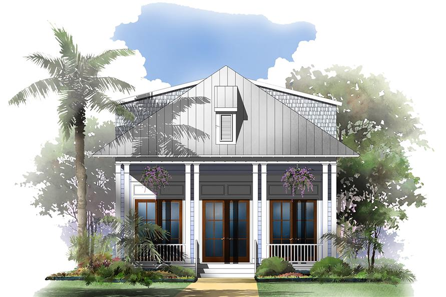 Front elevation of Traditional home (ThePlanCollection: House Plan #142-1147)