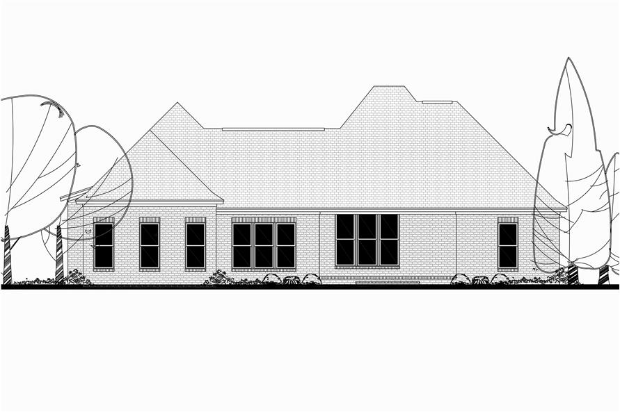Home Plan Rear Elevation of this 3-Bedroom,2405 Sq Ft Plan -142-1150