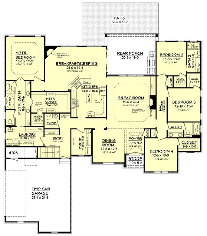 Country House Plan #142-1151: 4 Bedrm, 3287 Sq Ft Home Plan