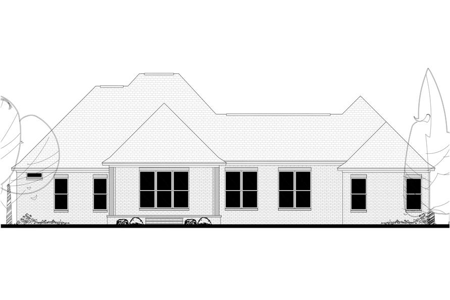 Home Plan Rear Elevation of this 4-Bedroom,3287 Sq Ft Plan -142-1151