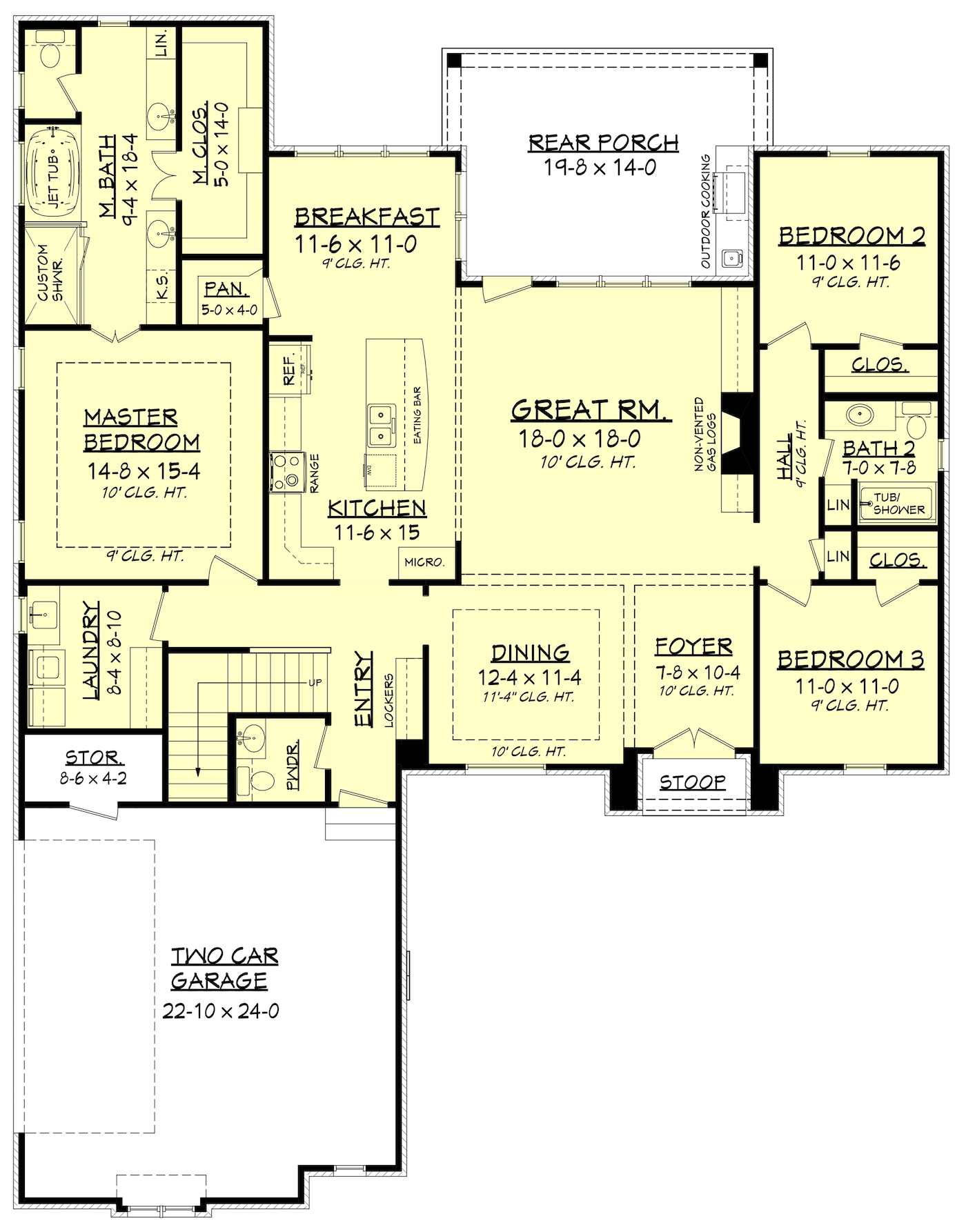 Acadian country house plan 142 1152 4 bedrm 2146 sq for Acadian style open floor plans