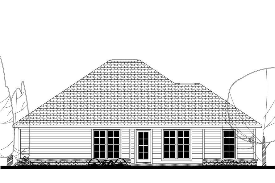 Home Plan Rear Elevation of this 3-Bedroom,1381 Sq Ft Plan -142-1153