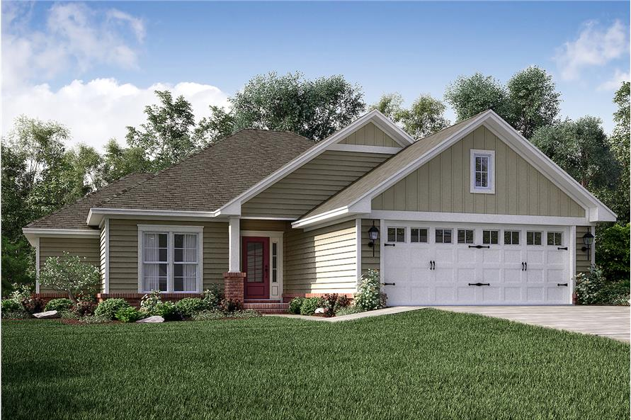 3-Bedroom, 1381 Sq Ft Craftsman Home Plan - 142-1153 - Main Exterior