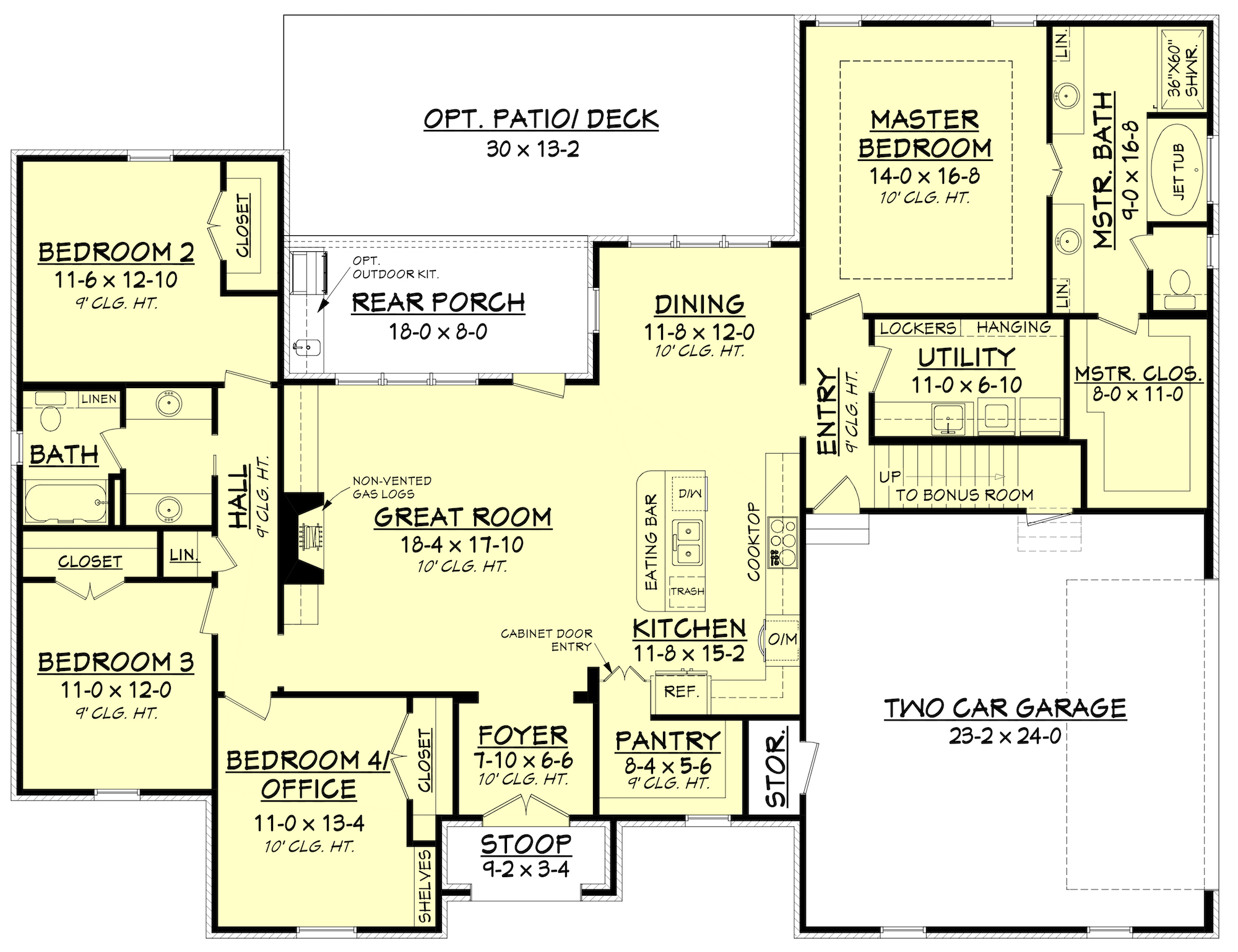 Acadian House Plan #142-1154: 4 Bedrm, 2210 Sq Ft Home Plan