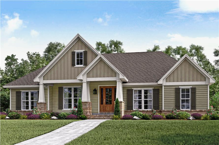 Color photograph of Country home (ThePlanCollection: House Plan #142-1159)