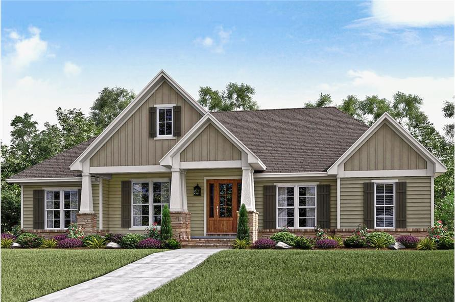 3-Bedroom, 2151 Sq Ft Country House Plan - 142-1159 - Front Exterior