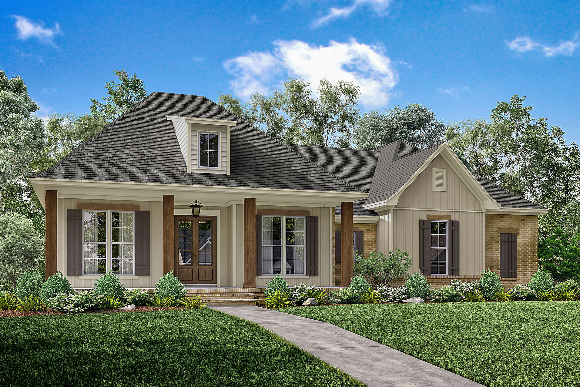 3 bedrm 1900 sq ft acadian house plan 142 1163 for Plan houses