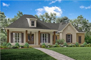Front elevation of Acadian home plan (ThePlanCollection: House Plan #142-1163)