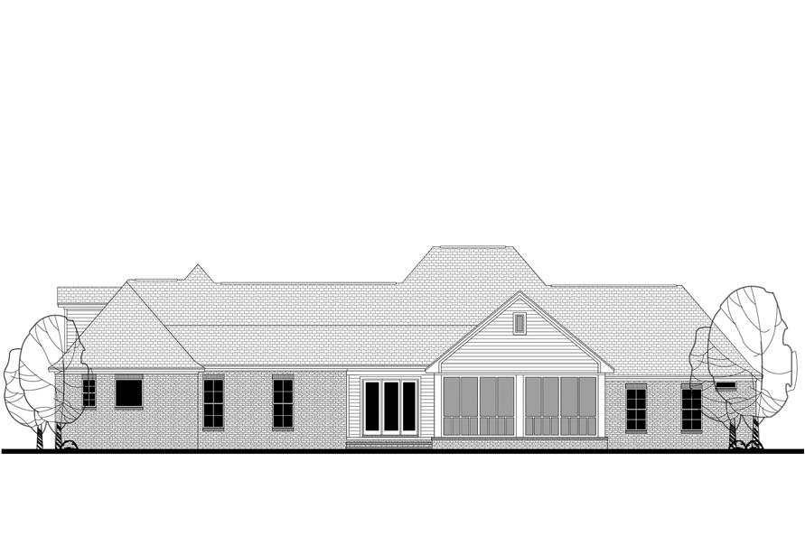 Home Plan Rear Elevation of this 4-Bedroom,3194 Sq Ft Plan -142-1167