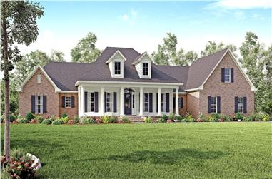 Front elevation of Traditional home plan (ThePlanCollection: House Plan #142-1167)
