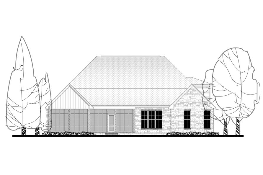 Home Plan Rear Elevation of this 3-Bedroom,2597 Sq Ft Plan -142-1168