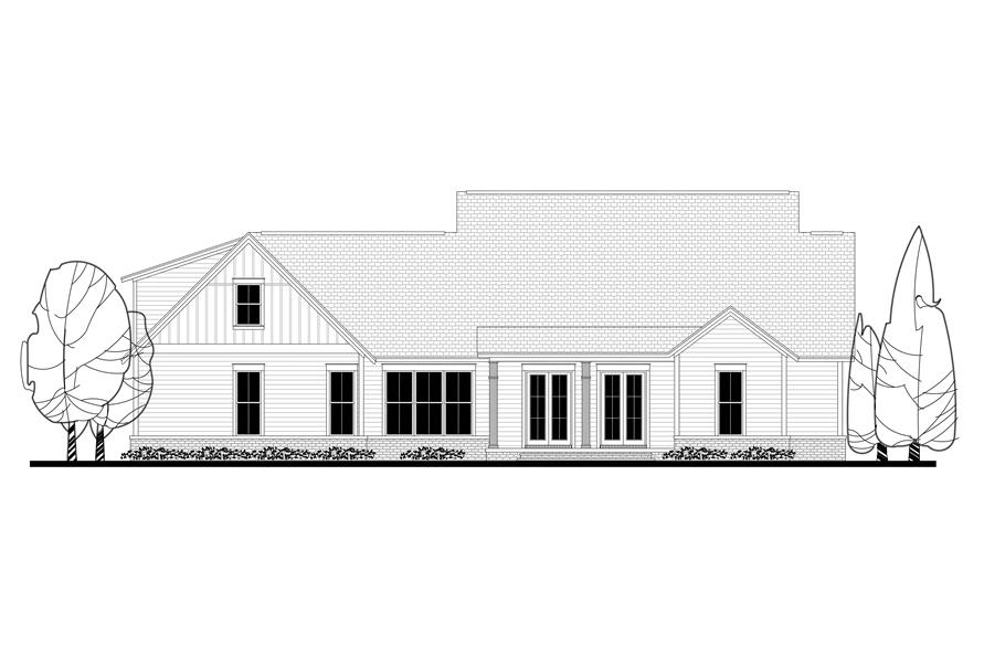 Home Plan Rear Elevation of this 4-Bedroom,2686 Sq Ft Plan -142-1169