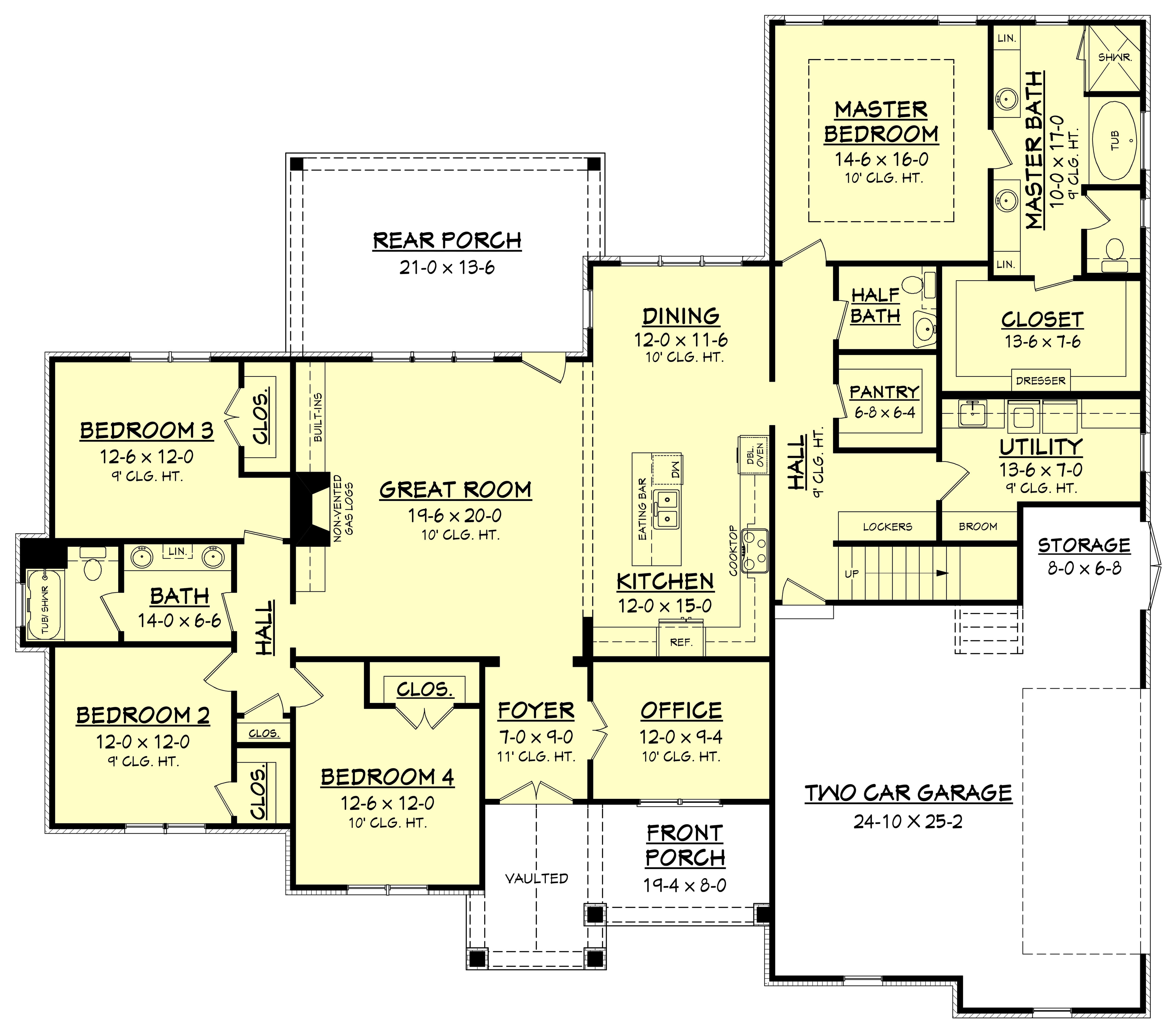 4 Bedrm, 2641 Sq Ft Country House Plan #142-1170