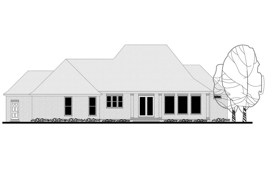 Home Plan Rear Elevation of this 3-Bedroom,2487 Sq Ft Plan -142-1171