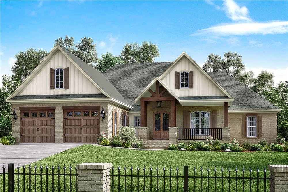 Photo-realistic rendering of Traditional home plan (ThePlanCollection: House Plan #142-1174)