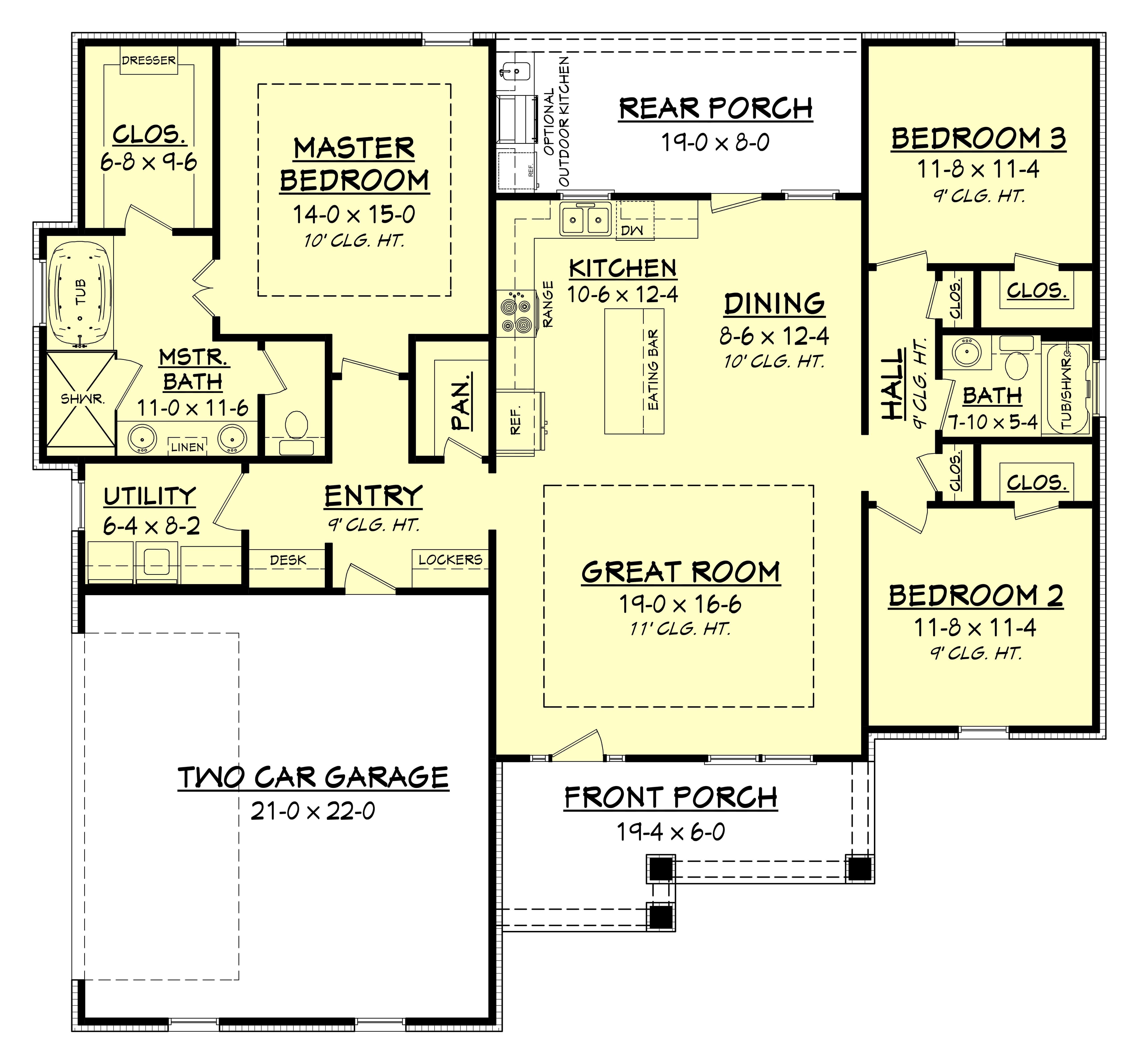 3 bedrm 1657 sq ft traditional house plan 142 1176 for Large simple house plans