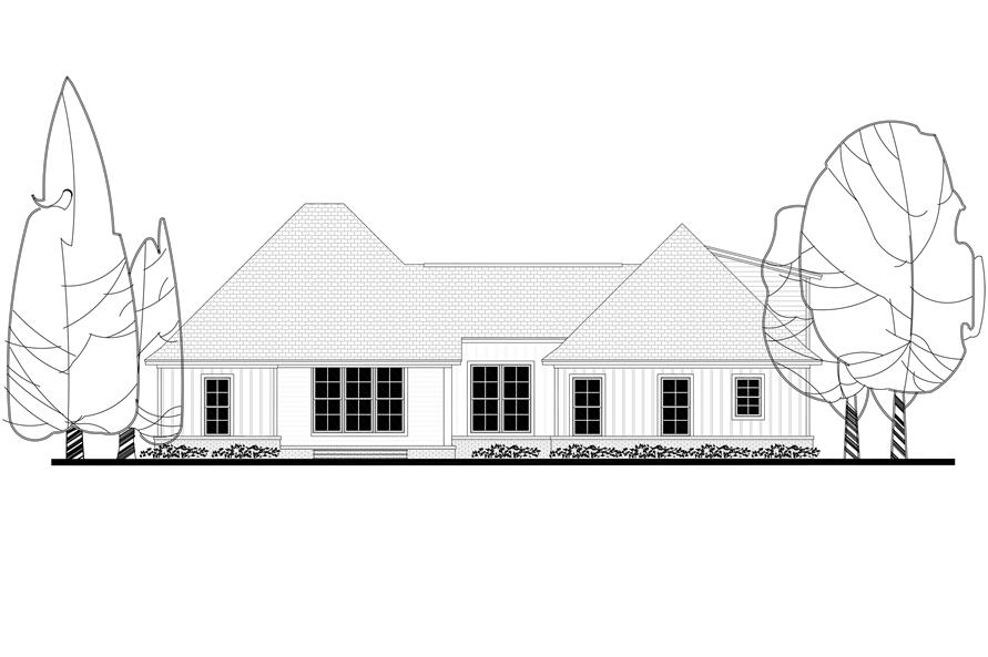 Home Plan Rear Elevation of this 3-Bedroom,2073 Sq Ft Plan -142-1177